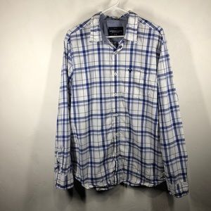American Eagle blue plaid button shirt size xl